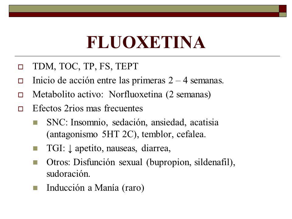 FLUOXETINA TDM, TOC, TP, FS, TEPT Inicio de acción entre las primeras 2 – 4 semanas.