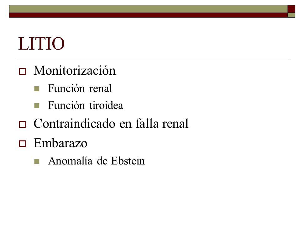 LITIO Monitorización Función renal Función tiroidea Contraindicado en falla renal Embarazo Anomalía de Ebstein