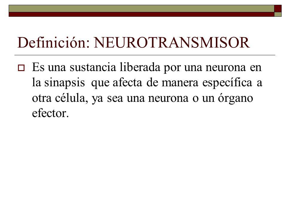 Definición: NEUROTRANSMISOR Es una sustancia liberada por una neurona en la sinapsis que afecta de manera específica a otra célula, ya sea una neurona o un órgano efector.