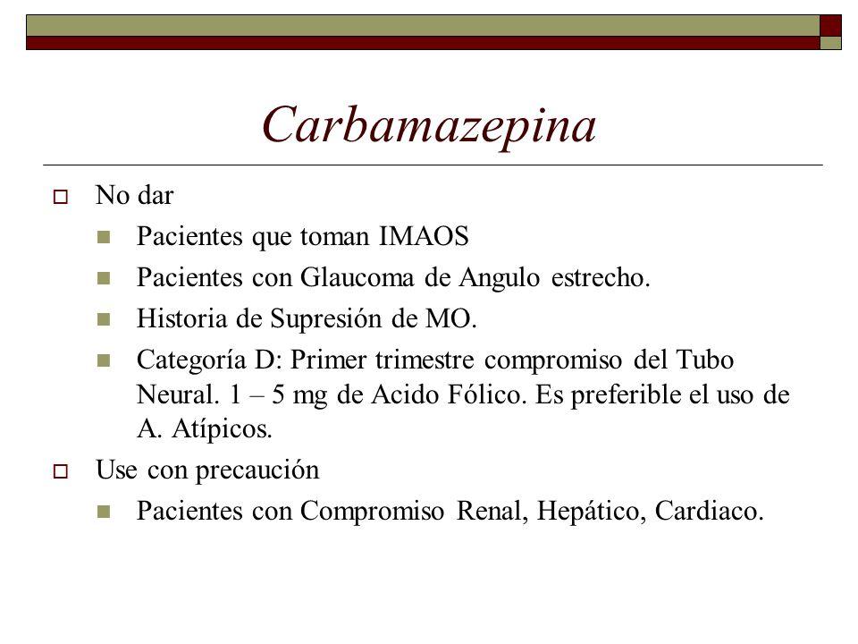 Carbamazepina No dar Pacientes que toman IMAOS Pacientes con Glaucoma de Angulo estrecho.