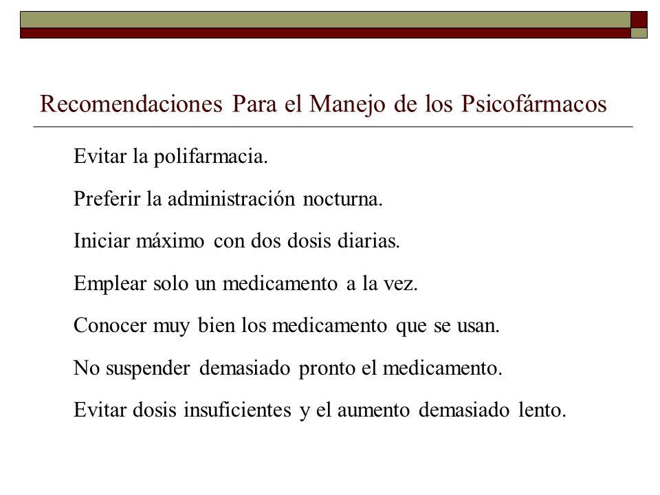 Recomendaciones Para el Manejo de los Psicofármacos Evitar la polifarmacia.