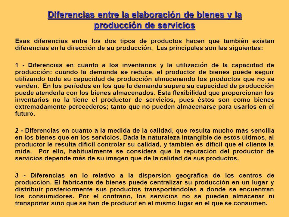 Diferencias entre la elaboración de bienes y la producción de servicios Esas diferencias entre los dos tipos de productos hacen que también existan diferencias en la dirección de su producción.