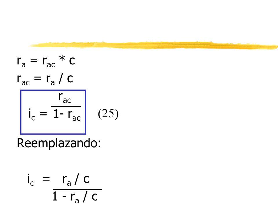 r a = r ac * c r ac = r a / c r ac 1- r ac Reemplazando: i c = r a / c 1 - r a / c i c = (25)