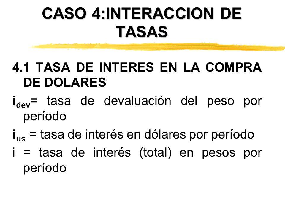 CASO 4:INTERACCION DE TASAS 4.1 TASA DE INTERES EN LA COMPRA DE DOLARES i dev = tasa de devaluación del peso por período i us = tasa de interés en dól