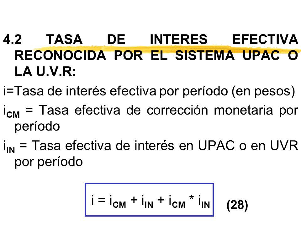 4.2 TASA DE INTERES EFECTIVA RECONOCIDA POR EL SISTEMA UPAC O LA U.V.R: i=Tasa de interés efectiva por período (en pesos) i CM = Tasa efectiva de corr