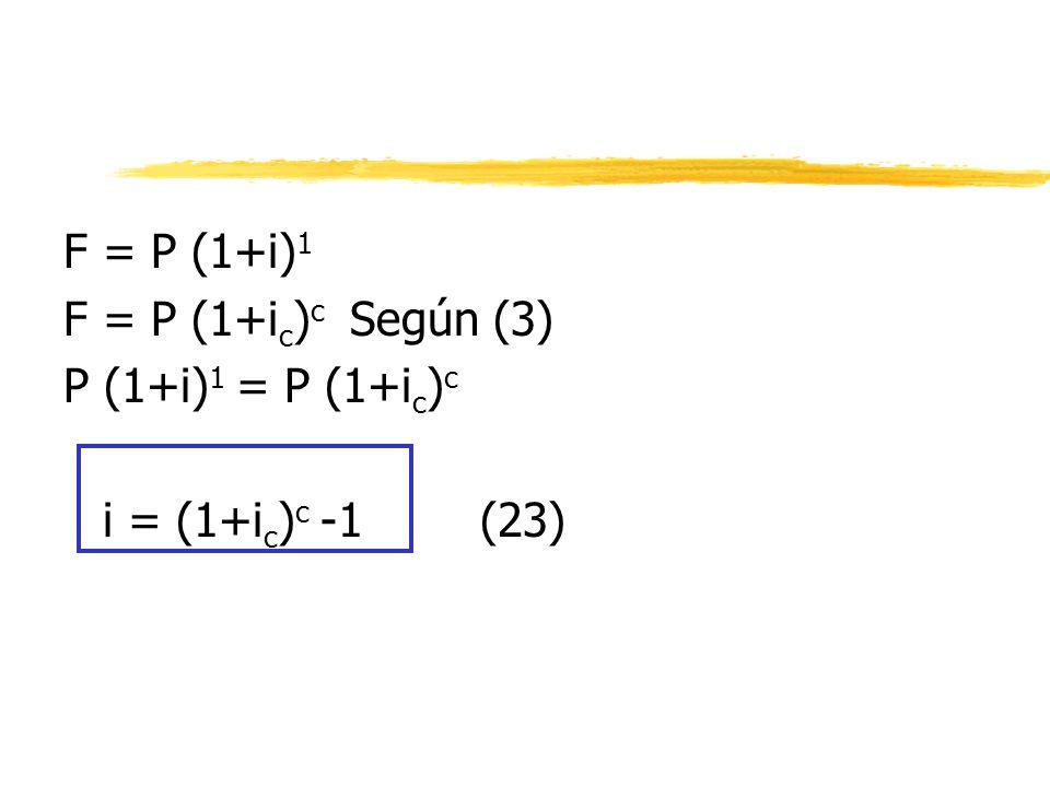 F = P (1+i) 1 F = P (1+i c ) c Según (3) P (1+i) 1 = P (1+i c ) c i = (1+i c ) c -1 (23)