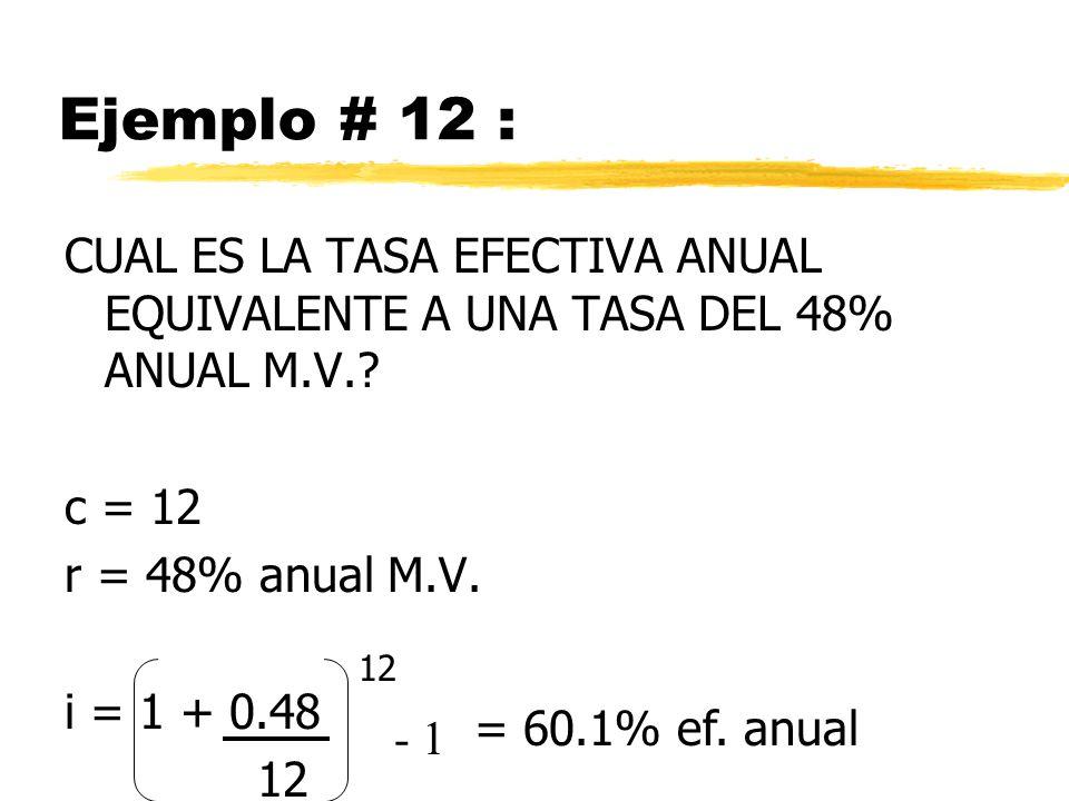 Ejemplo # 12 : CUAL ES LA TASA EFECTIVA ANUAL EQUIVALENTE A UNA TASA DEL 48% ANUAL M.V.? c = 12 r = 48% anual M.V. i = 1 + 0.48 12 = 60.1% ef. anual -