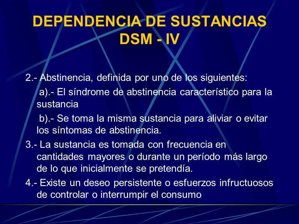 DEPENDENCIA DE SUSTANCIAS DSM - IV 2.- Abstinencia, definida por uno de los siguientes: a).- El síndrome de abstinencia característico para la sustancia b).- Se toma la misma sustancia para aliviar o evitar los síntomas de abstinencia.