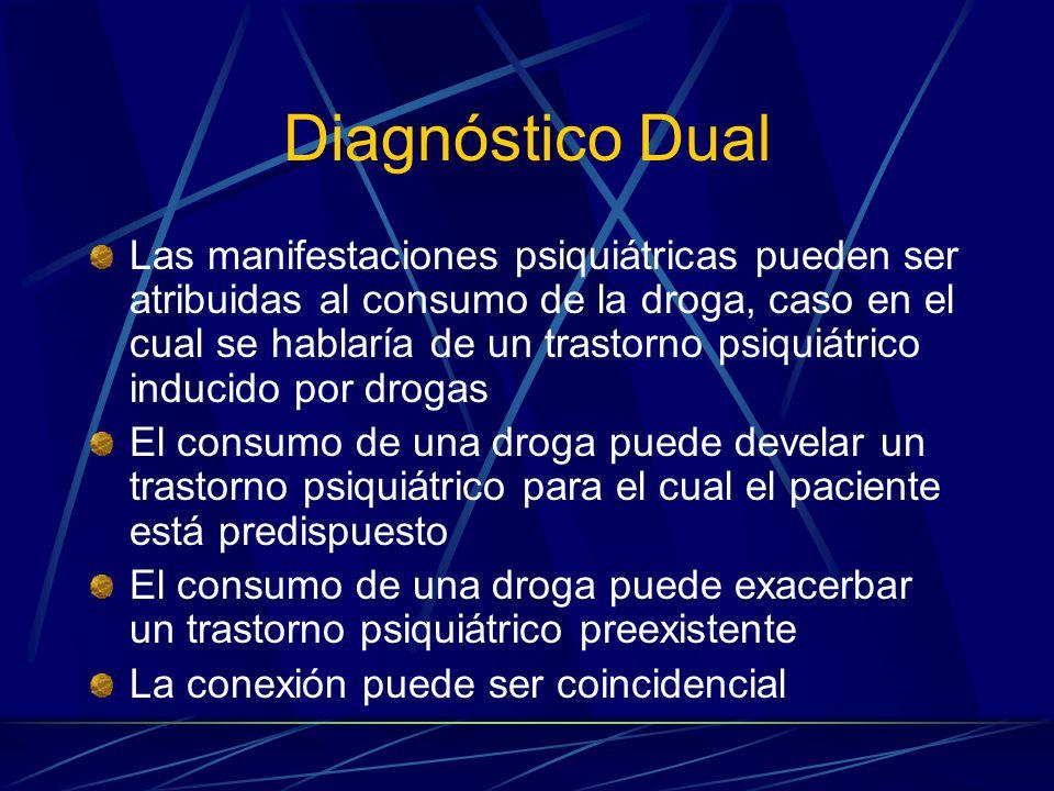 Diagnóstico Dual Las manifestaciones psiquiátricas pueden ser atribuidas al consumo de la droga, caso en el cual se hablaría de un trastorno psiquiátrico inducido por drogas El consumo de una droga puede develar un trastorno psiquiátrico para el cual el paciente está predispuesto El consumo de una droga puede exacerbar un trastorno psiquiátrico preexistente La conexión puede ser coincidencial