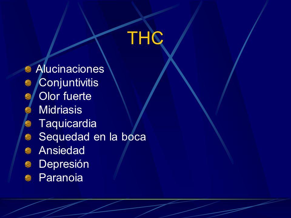 THC Alucinaciones Conjuntivitis Olor fuerte Midriasis Taquicardia Sequedad en la boca Ansiedad Depresión Paranoia
