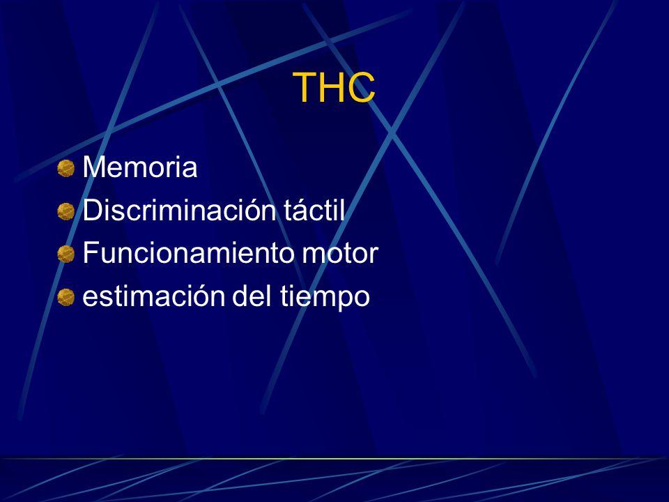 THC Memoria Discriminación táctil Funcionamiento motor estimación del tiempo