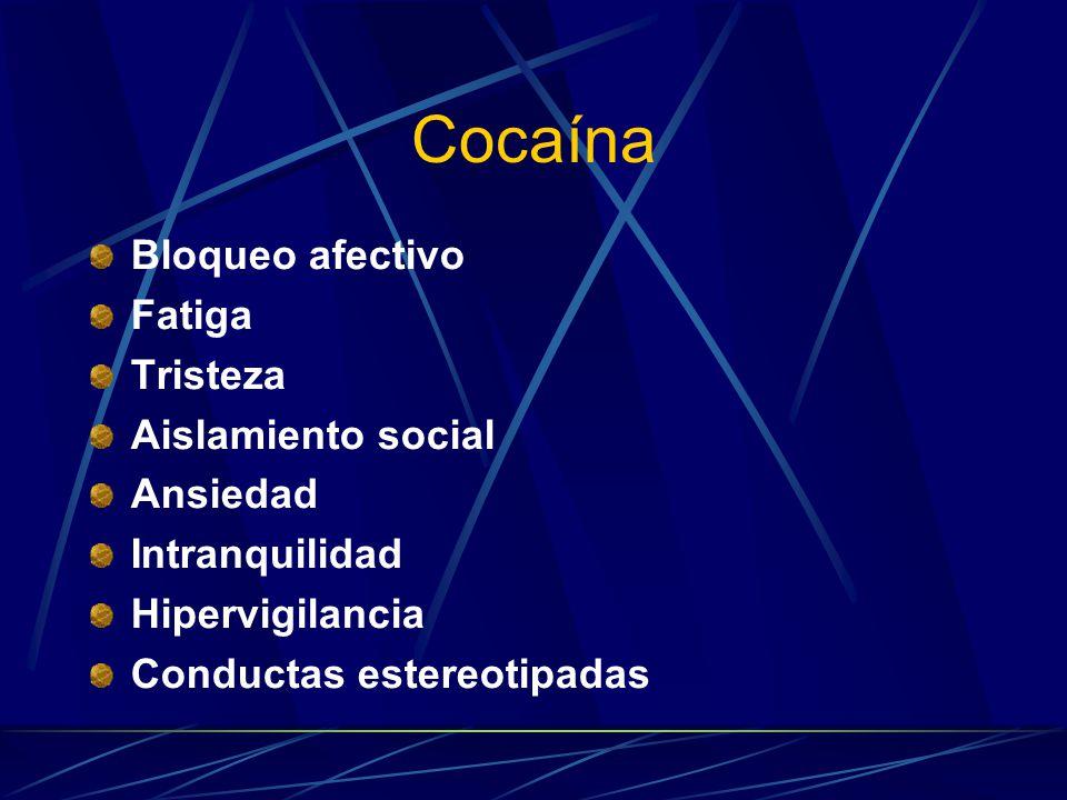 Cocaína Bloqueo afectivo Fatiga Tristeza Aislamiento social Ansiedad Intranquilidad Hipervigilancia Conductas estereotipadas