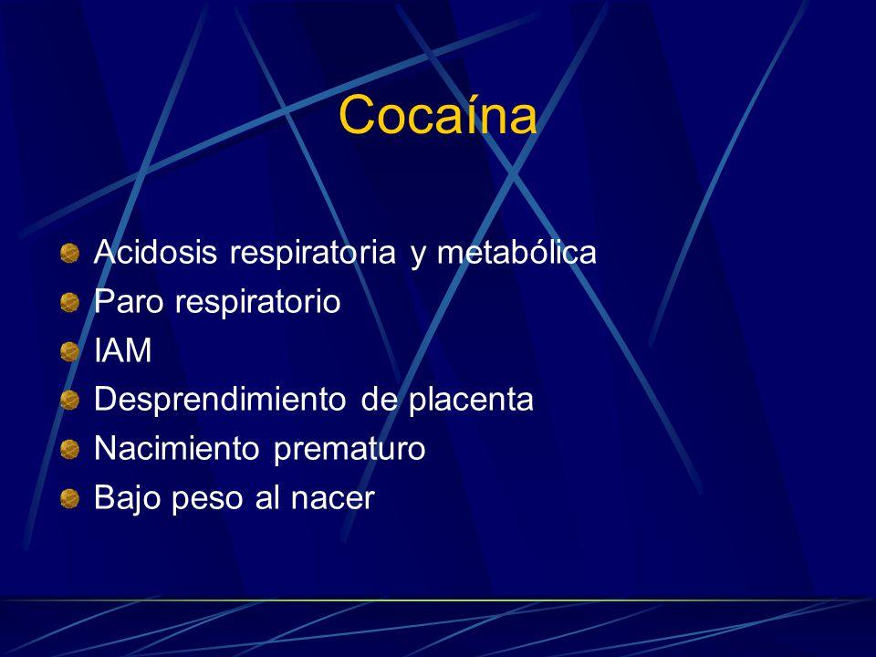 Cocaína Acidosis respiratoria y metabólica Paro respiratorio IAM Desprendimiento de placenta Nacimiento prematuro Bajo peso al nacer