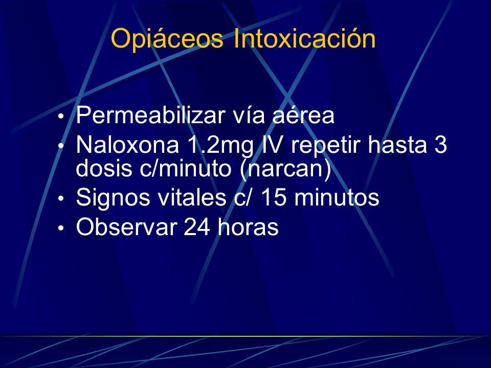 Opiáceos Intoxicación Permeabilizar vía aérea Naloxona 1.2mg IV repetir hasta 3 dosis c/minuto (narcan) Signos vitales c/ 15 minutos Observar 24 horas