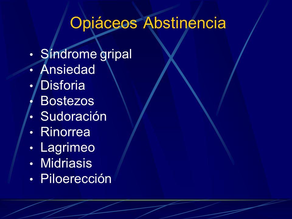 Opiáceos Abstinencia Síndrome gripal Ansiedad Disforia Bostezos Sudoración Rinorrea Lagrimeo Midriasis Piloerección