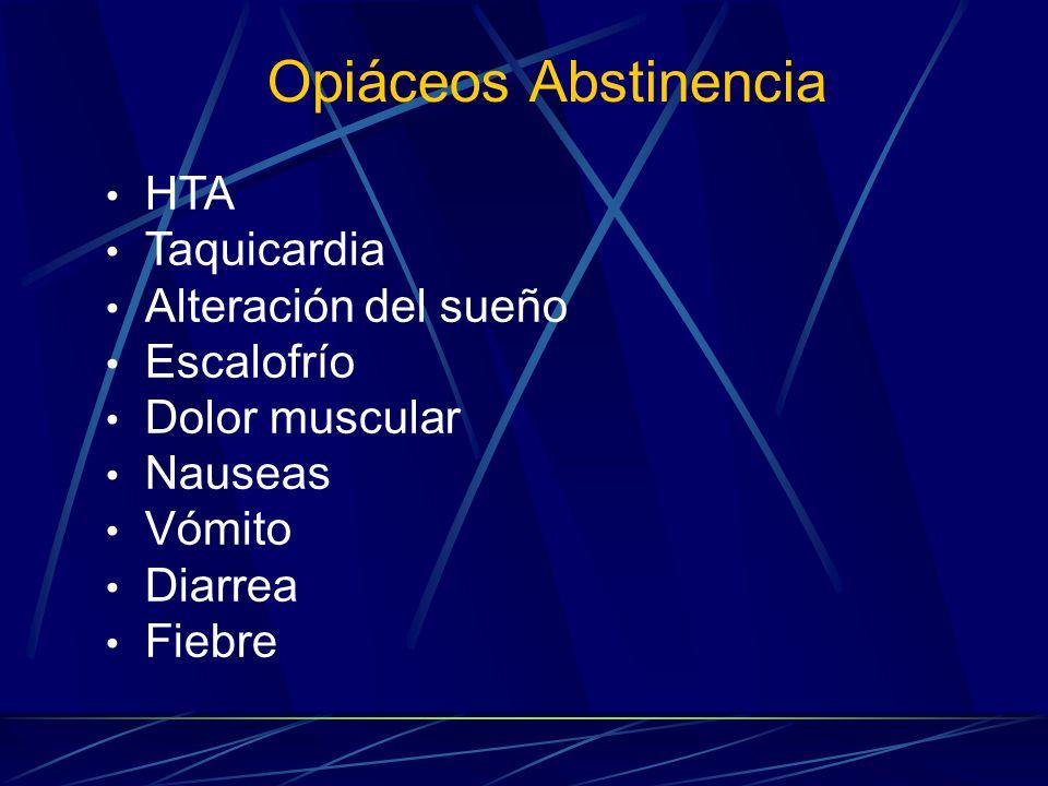 Opiáceos Abstinencia HTA Taquicardia Alteración del sueño Escalofrío Dolor muscular Nauseas Vómito Diarrea Fiebre