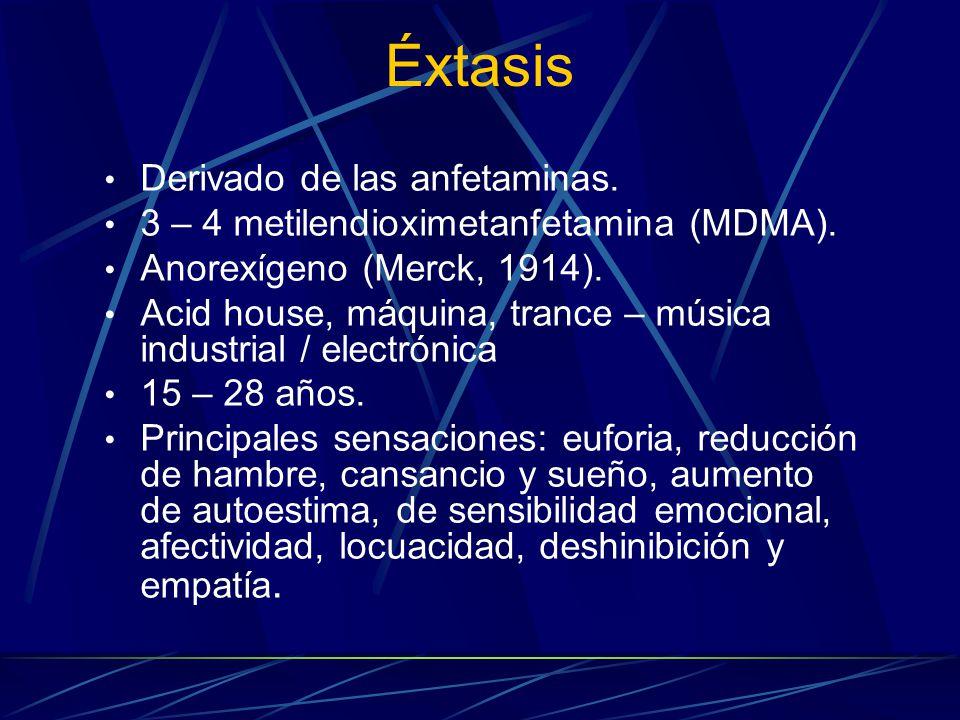 Éxtasis Derivado de las anfetaminas.3 – 4 metilendioximetanfetamina (MDMA).