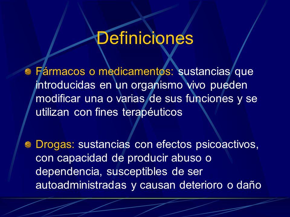 Definiciones Fármacos o medicamentos: sustancias que introducidas en un organismo vivo pueden modificar una o varias de sus funciones y se utilizan con fines terapéuticos Drogas: sustancias con efectos psicoactivos, con capacidad de producir abuso o dependencia, susceptibles de ser autoadministradas y causan deterioro o daño