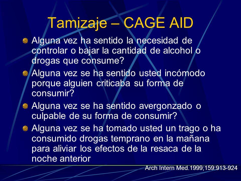 Tamizaje – CAGE AID Alguna vez ha sentido la necesidad de controlar o bajar la cantidad de alcohol o drogas que consume.
