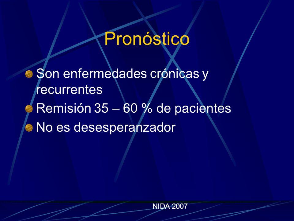 Pronóstico Son enfermedades crónicas y recurrentes Remisión 35 – 60 % de pacientes No es desesperanzador NIDA 2007