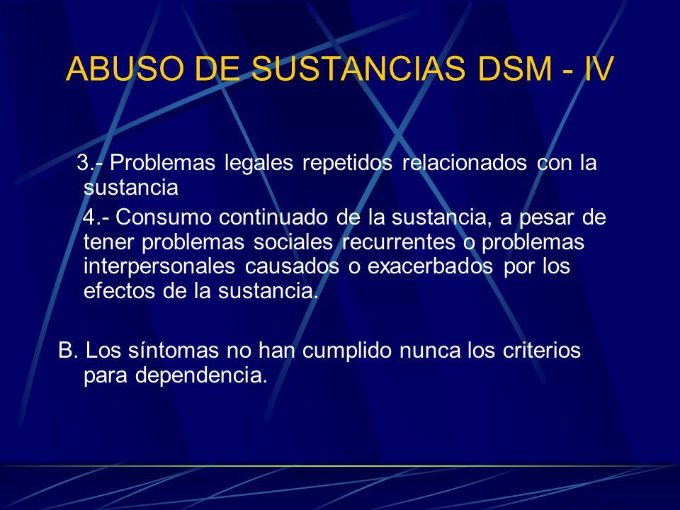 ABUSO DE SUSTANCIAS DSM - IV 3.- Problemas legales repetidos relacionados con la sustancia 4.- Consumo continuado de la sustancia, a pesar de tener problemas sociales recurrentes o problemas interpersonales causados o exacerbados por los efectos de la sustancia.
