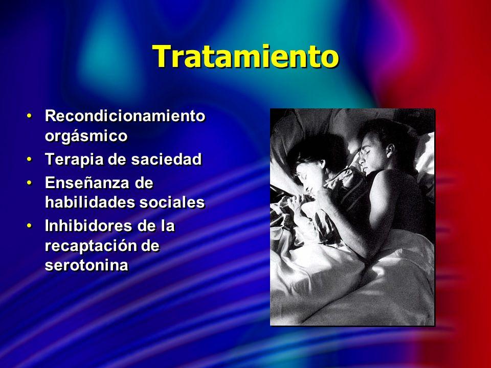 Tratamiento Recondicionamiento orgásmico Terapia de saciedad Enseñanza de habilidades sociales Inhibidores de la recaptación de serotonina Recondicion