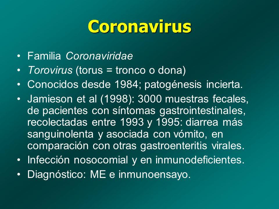 Coronavirus Familia Coronaviridae Torovirus (torus = tronco o dona) Conocidos desde 1984; patogénesis incierta. Jamieson et al (1998): 3000 muestras f