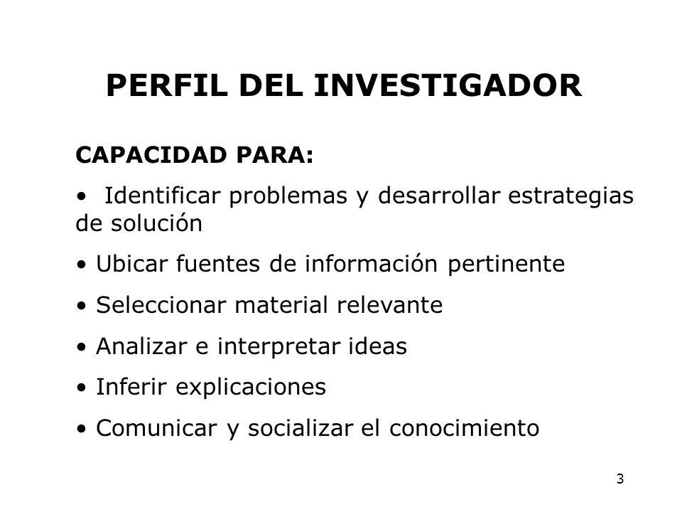 3 PERFIL DEL INVESTIGADOR CAPACIDAD PARA: Identificar problemas y desarrollar estrategias de solución Ubicar fuentes de información pertinente Selecci