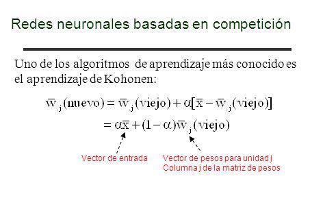 Redes neuronales basadas en competición Uno de los algoritmos de aprendizaje más conocido es el aprendizaje de Kohonen: Vector de entrada Vector de pe