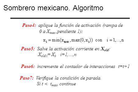 Paso4: aplique la función de activación (rampa de 0 a X max,pendiente 1): Paso5: Salve la activación corriente en X old : X old i = X i, i=1,…,n Paso6
