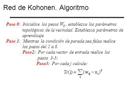 Paso 0: Inicialice los pesos W ij, establezca los parámetros topológicos de la vecindad. Establezca parámetros de aprendizaje Paso 1: Mientras la cond