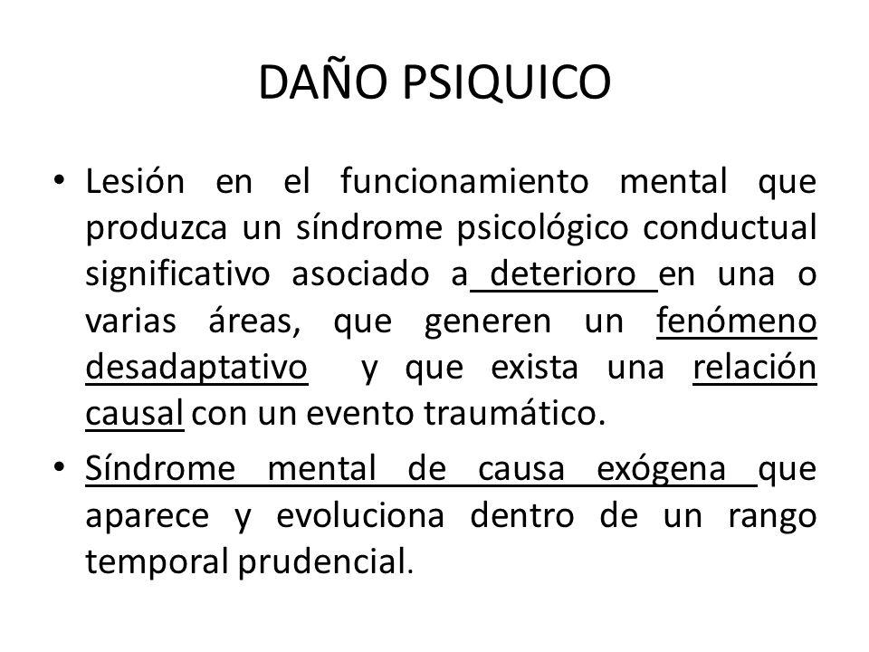 DAÑO PSIQUICO Lesión en el funcionamiento mental que produzca un síndrome psicológico conductual significativo asociado a deterioro en una o varias ár