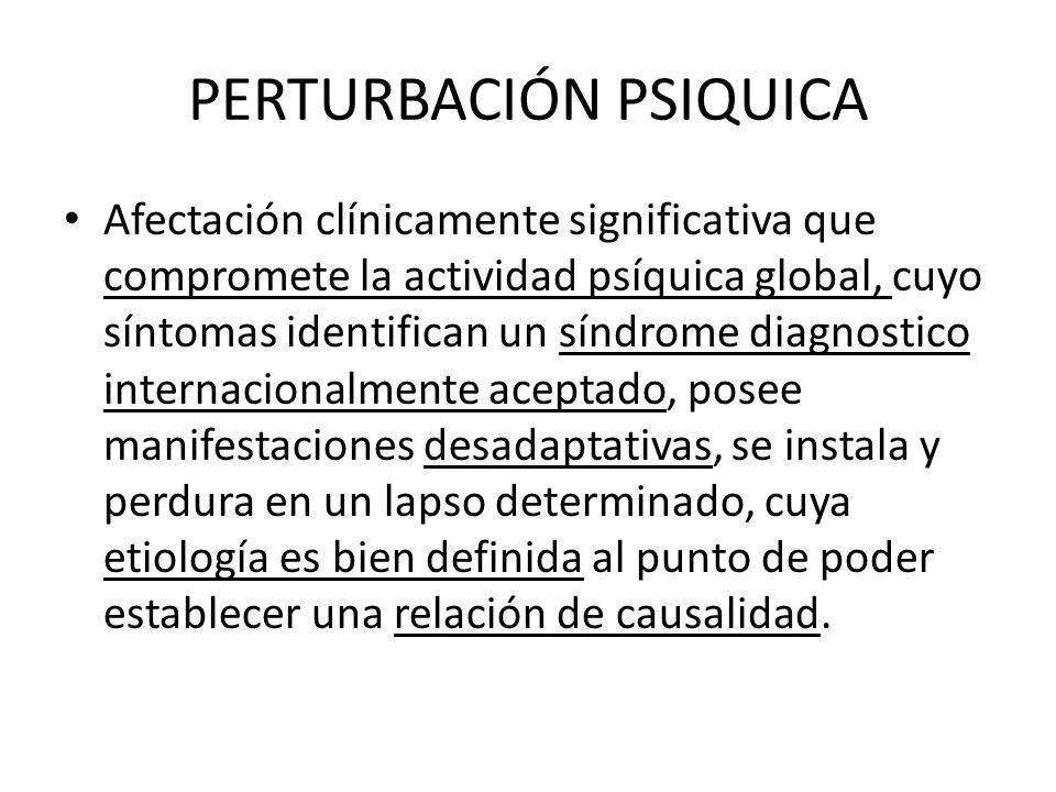 PERTURBACIÓN PSIQUICA Afectación clínicamente significativa que compromete la actividad psíquica global, cuyo síntomas identifican un síndrome diagnos