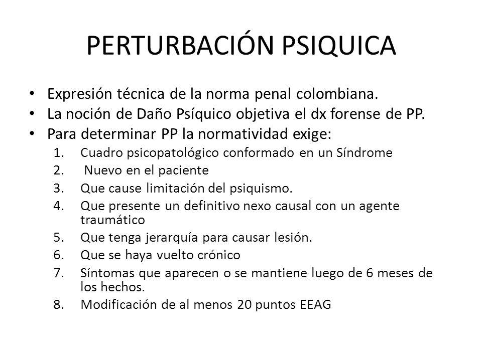 PERTURBACIÓN PSIQUICA Expresión técnica de la norma penal colombiana. La noción de Daño Psíquico objetiva el dx forense de PP. Para determinar PP la n