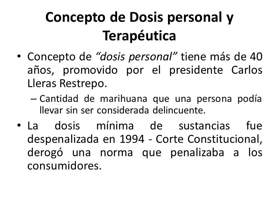 Concepto de Dosis personal y Terapéutica Concepto de dosis personal tiene más de 40 años, promovido por el presidente Carlos Lleras Restrepo.