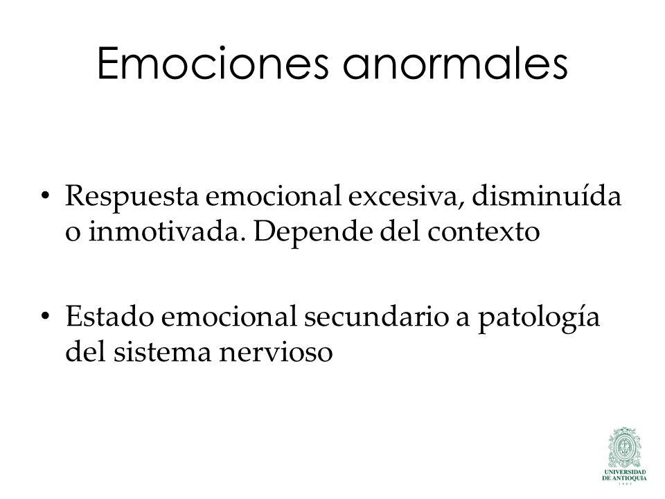 Emociones anormales Respuesta emocional excesiva, disminuída o inmotivada. Depende del contexto Estado emocional secundario a patología del sistema ne
