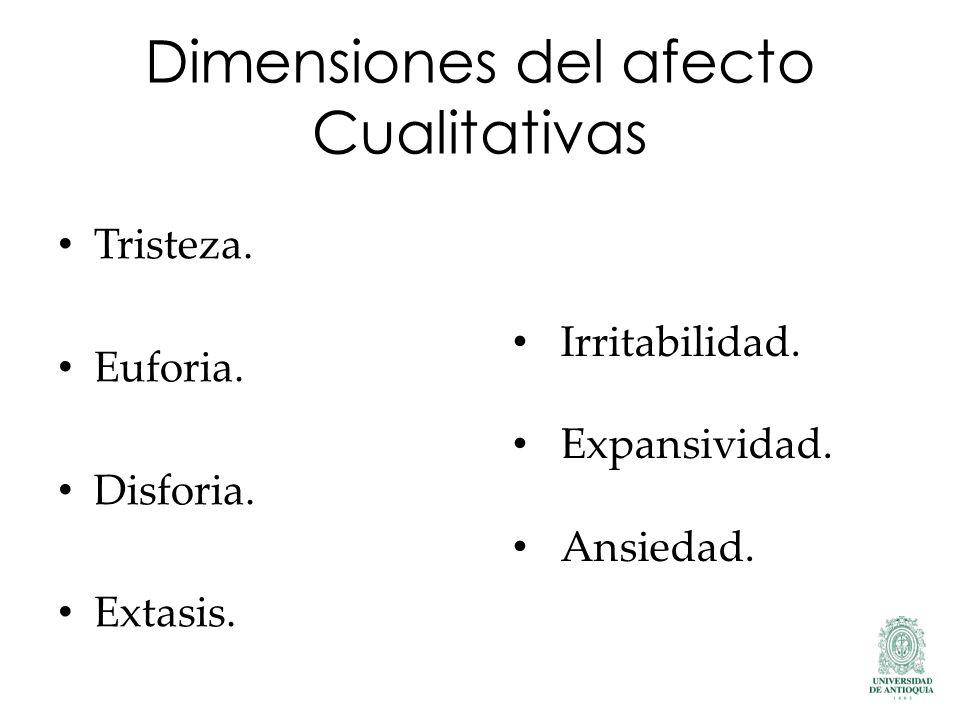 Dimensiones del afecto Cualitativas Tristeza. Euforia. Disforia. Extasis. Irritabilidad. Expansividad. Ansiedad.