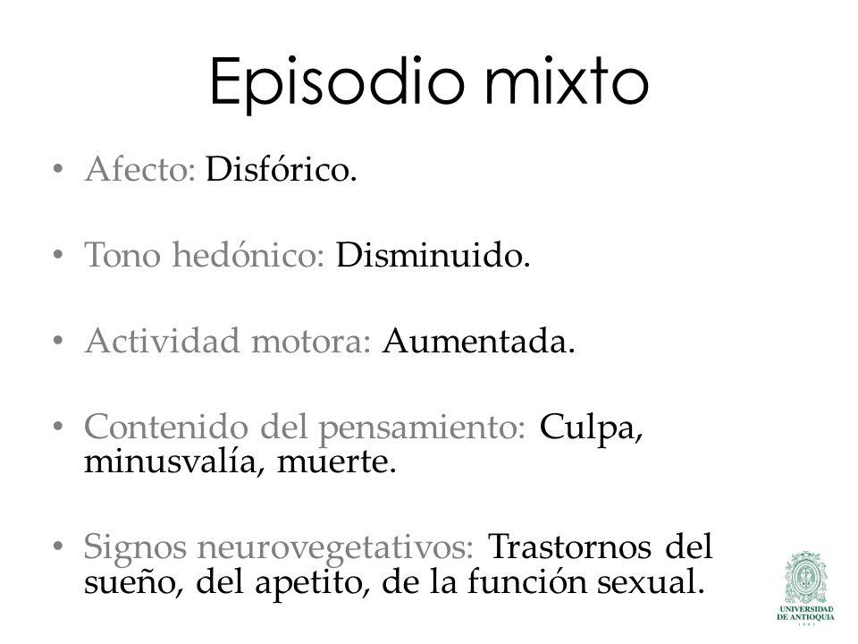 Episodio mixto Afecto: Disfórico. Tono hedónico: Disminuido. Actividad motora: Aumentada. Contenido del pensamiento: Culpa, minusvalía, muerte. Signos
