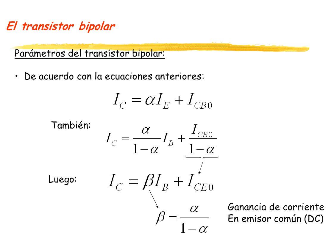 El transistor bipolar Parámetros del transistor bipolar: De acuerdo con la ecuaciones anteriores: También: Luego: Ganancia de corriente En emisor común (DC)