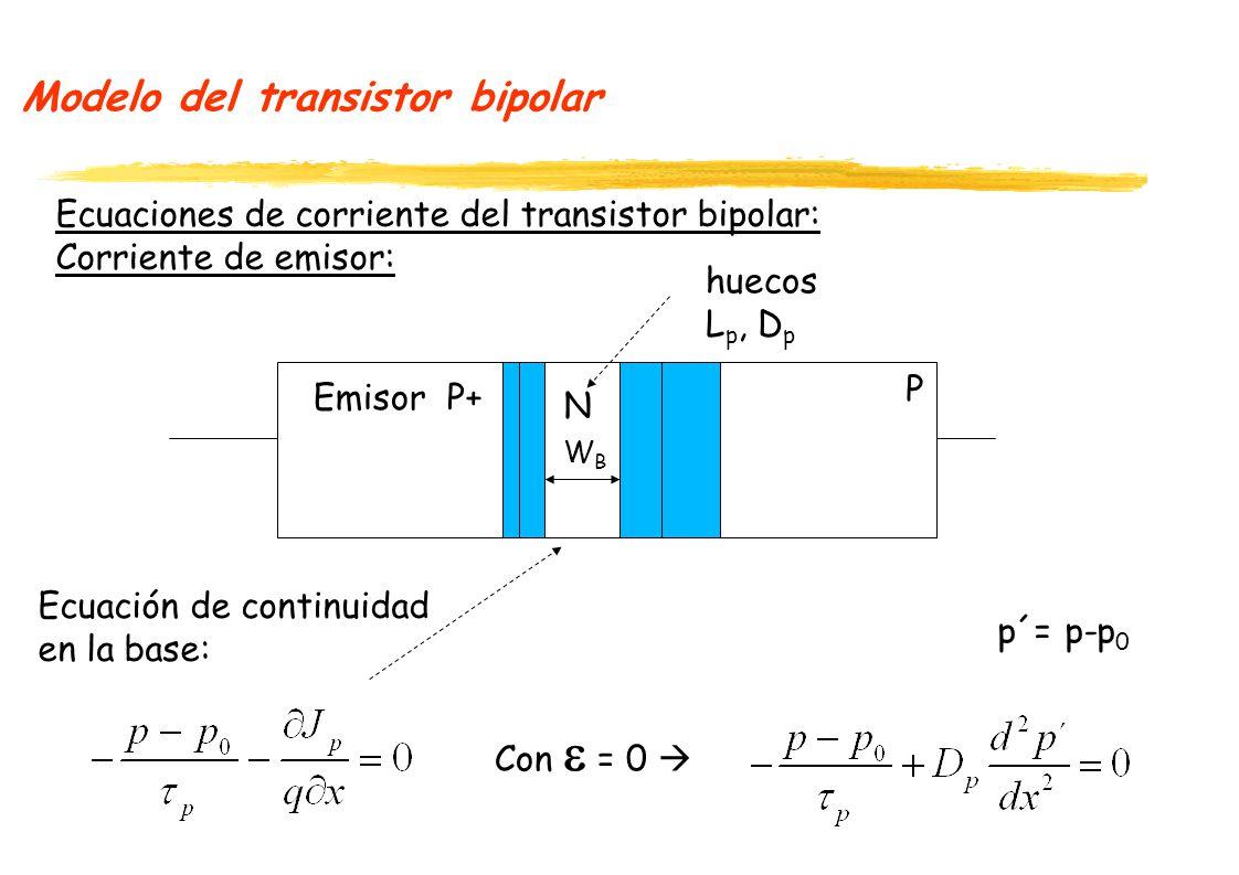 Modelo del transistor bipolar Ecuaciones de corriente del transistor bipolar: Corriente de emisor: P+ N P Emisor WBWB huecos L p, D p Ecuación de continuidad en la base: Con = 0 p´= p-p 0