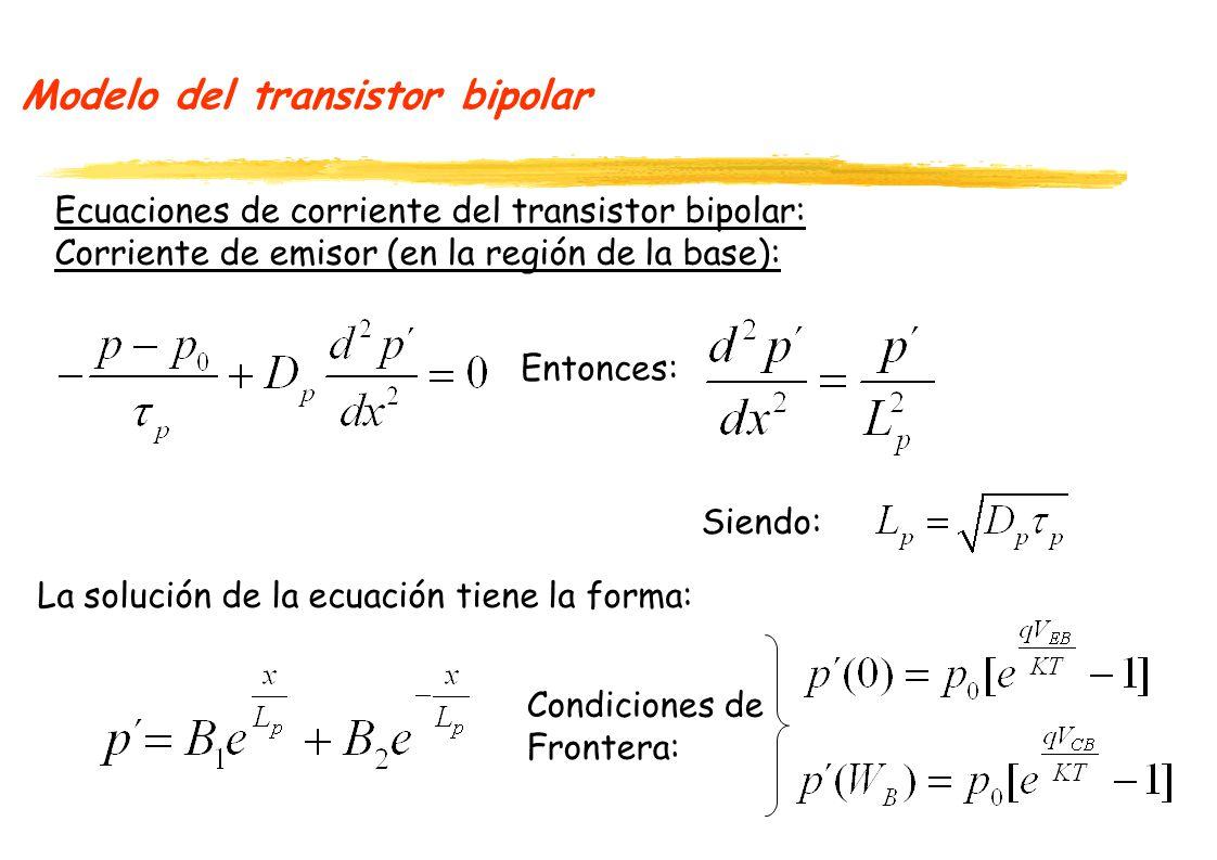 Modelo del transistor bipolar Ecuaciones de corriente del transistor bipolar: Corriente de emisor (en la región de la base): La solución de la ecuación tiene la forma: Entonces: Siendo: Condiciones de Frontera:
