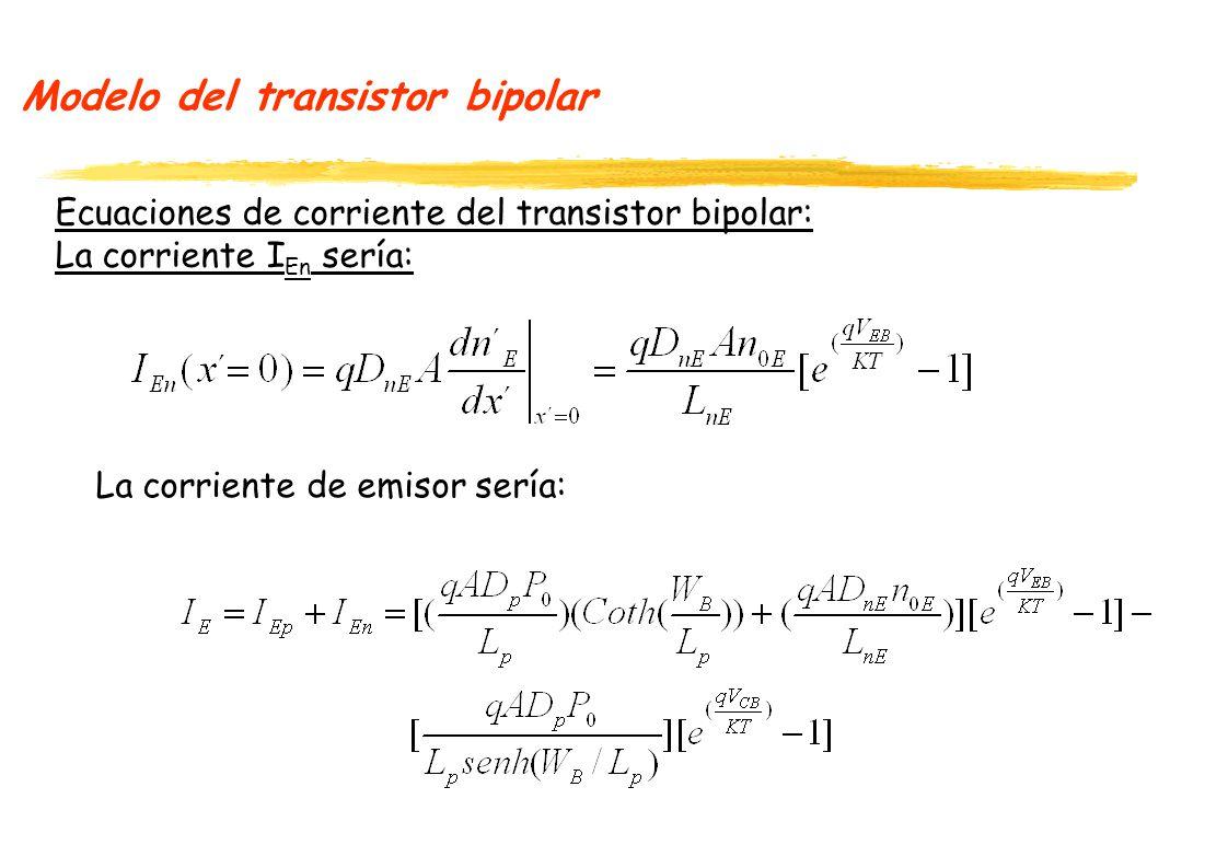 Modelo del transistor bipolar Ecuaciones de corriente del transistor bipolar: La corriente I En sería: La corriente de emisor sería: