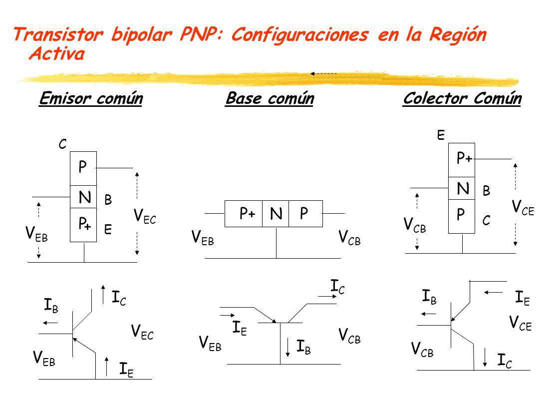 Transistor bipolar PNP: Configuraciones en la Región Activa Emisor común Base común Colector Común P N P V EB + E B C ICIC IEIE IBIB V EC P+NP ICIC IEIE V EB V CB V EB V EC V EB V CB P+ N P V CB C B E IEIE ICIC IBIB V CE V CB V CE IBIB