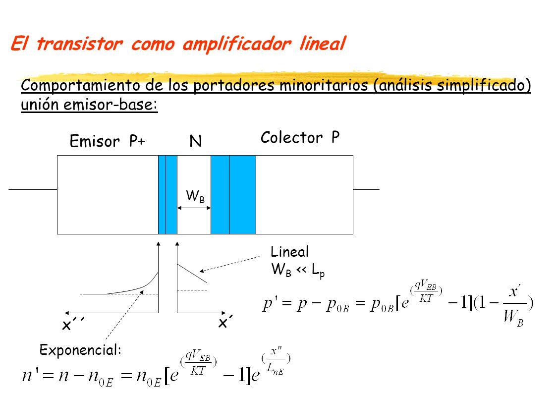 El transistor como amplificador lineal Comportamiento de los portadores minoritarios (análisis simplificado) unión emisor-base: P+N P Emisor Colector WBWB Lineal W B << L p Exponencial: x´´ x´