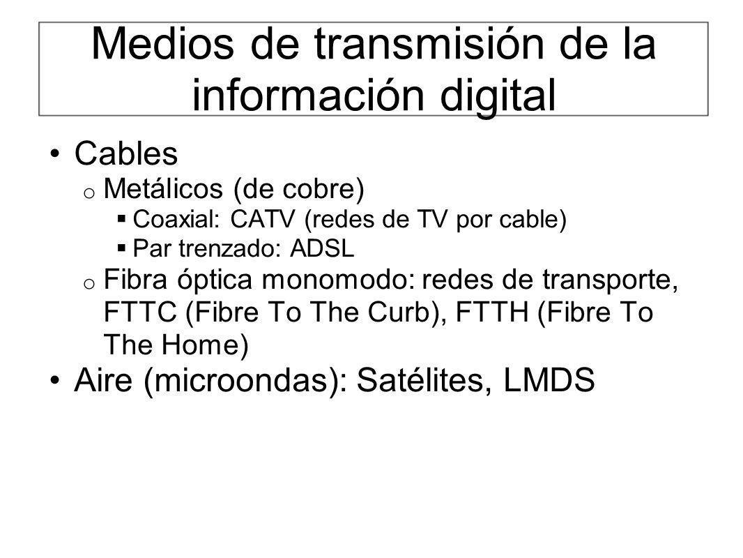 Medios de transmisión de la información digital Cables o Metálicos (de cobre) Coaxial: CATV (redes de TV por cable) Par trenzado: ADSL o Fibra óptica