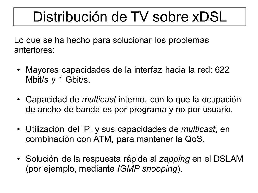 Distribución de TV sobre xDSL Lo que se ha hecho para solucionar los problemas anteriores: Mayores capacidades de la interfaz hacia la red: 622 Mbit/s