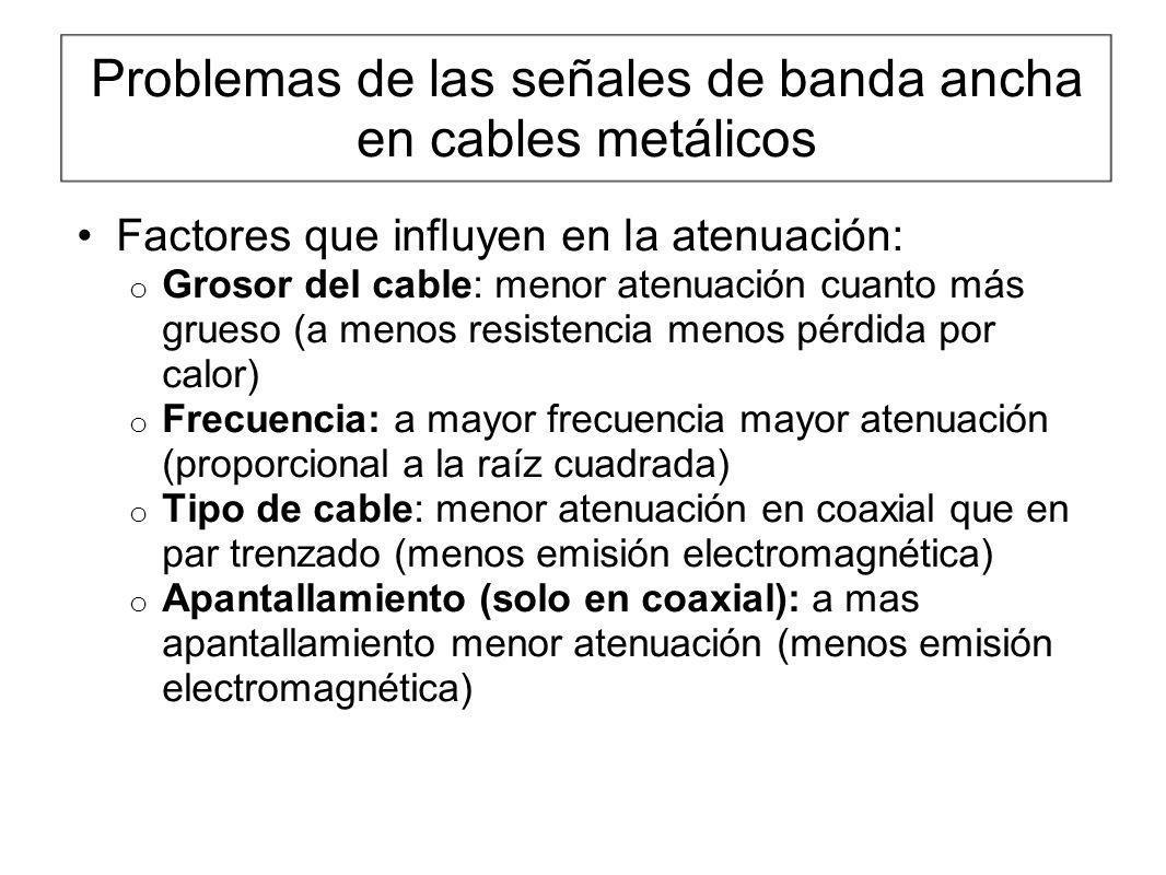 Problemas de las señales de banda ancha en cables metálicos Factores que influyen en la atenuación: o Grosor del cable: menor atenuación cuanto más gr