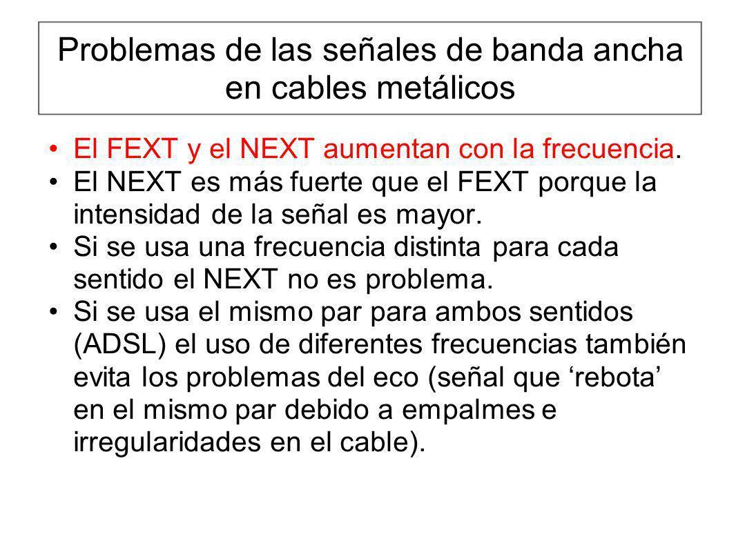 Problemas de las señales de banda ancha en cables metálicos El FEXT y el NEXT aumentan con la frecuencia. El NEXT es más fuerte que el FEXT porque la