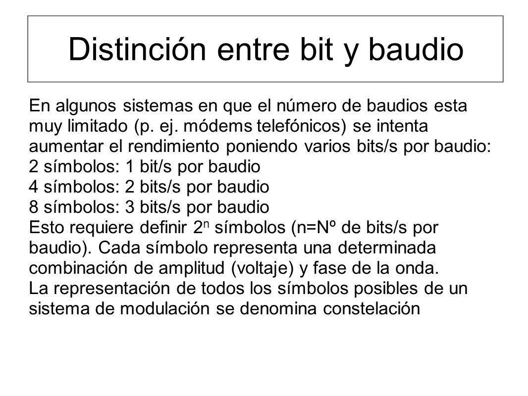 Distinción entre bit y baudio En algunos sistemas en que el número de baudios esta muy limitado (p. ej. módems telefónicos) se intenta aumentar el ren