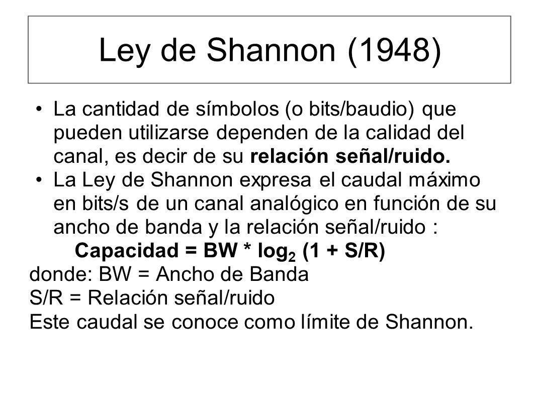 Ley de Shannon (1948) La cantidad de símbolos (o bits/baudio) que pueden utilizarse dependen de la calidad del canal, es decir de su relación señal/ru